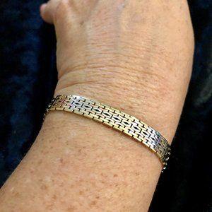 14K Yellow White Rose Gold Tri Color Link Bracelet